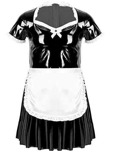 TL TONGLING Traje de Cosplay Hombre Maid Sexy Cosplay Costume Short Soplo de Manga Patente Vestido de Cuero con Delantal Maid Cosplay Sexy Ropa de Dormir (Color : Negro, Size : XL)