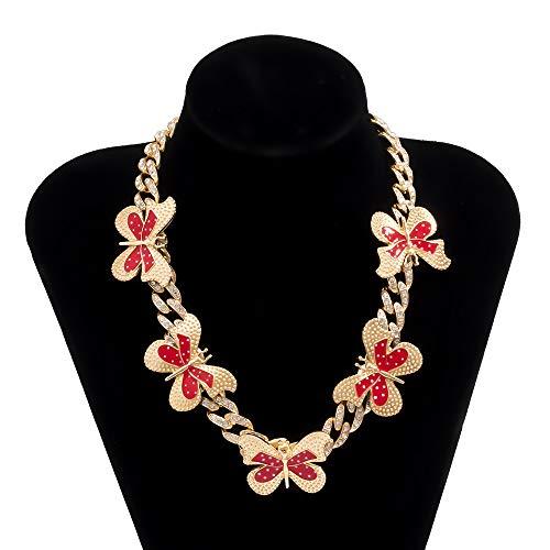 AMY-XCQ Body Chain, Diamond-Studded Cuban Buckle Color Full Diamond Butterfly Necklace Adjustable Retro Style,J