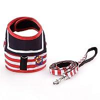 MXFZ 小中犬猫のための調節可能な犬の首輪ハーネスリーシュクリエイティブ海軍のスーツスタイルチェストストラップセキュアトラクションロープ (Color : Red, Size : M)