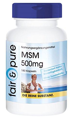MSM Kapseln 500mg - Methylsulfonylmethan - vegan - 180 MSM Kapseln - 100% MSM pro Kapsel - Reinsubstanz ohne Magnesiumstearat