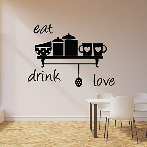 Comer, beber, amor, calcomanía de pared, cocina, decoración del hogar, taza de corazón, café, restaurante, vinilo, adhesivo para pared, ventana, arte mural