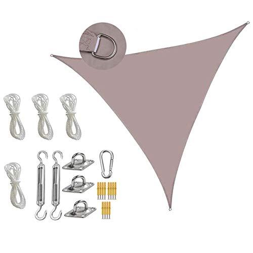 Vela De Sombra, Triángulo Vela De Sombra con Cuerda Libre Y Accesorios De Instalación Fija, Protección Rayos UV, Toldo Resistente E Lmpermeable, para Patio Exteriore Khaki-6X6X6M