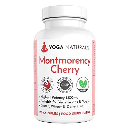 Montmorency Cherry Capsules | 180 Capsules | Cherry Extract 1100mg | High Strength Montmorency Cherries | UK Manufactured to GMP for Consistent High Quality | Suitable for Vegans &