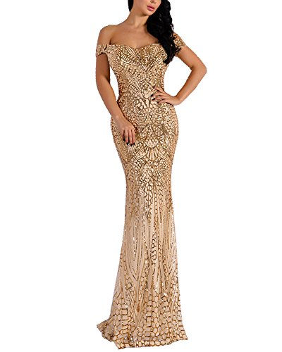 WRStore Women's Off Shoulder Sequined Evening Party Maxi Dress for Prom Gold Small