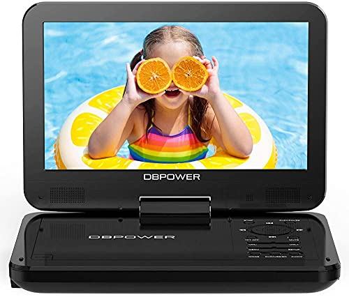 DBPOWER 12.5'' Portable DVD Player with 5 Hours Rechargeable Battery, 10'' Swivel Screen, SD Card Slot and USB Port - Black