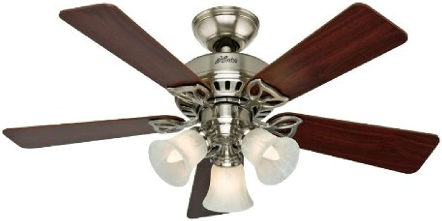 Hunter 53079 The Beacon Hill 42-inch Brushed Nickel Ceiling Fan with Five Cherry Maple Blades and Light Kit