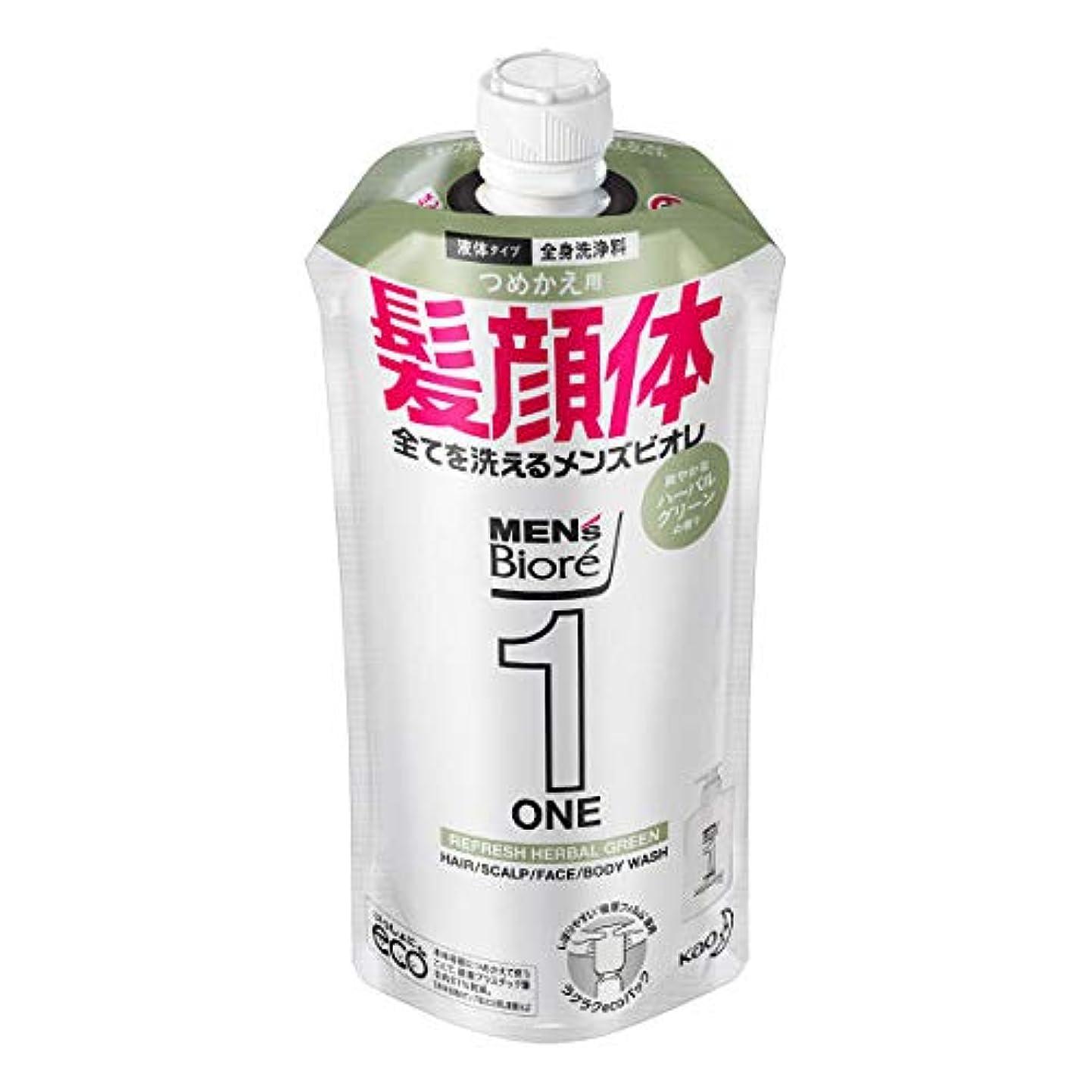 喜劇遵守する思いつくメンズビオレONE オールインワン全身洗浄料 爽やかなハーブルグリーンの香り つめかえ用 340mL