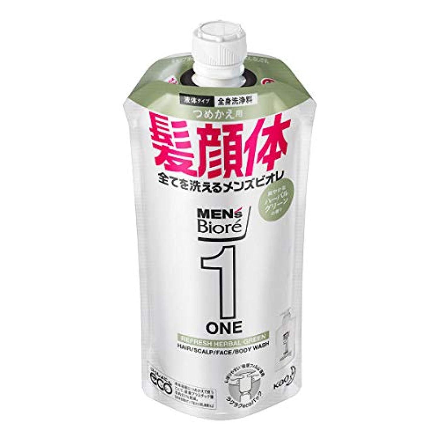 戦術わかるハグメンズビオレONE オールインワン全身洗浄料 爽やかなハーブルグリーンの香り つめかえ用 340mL