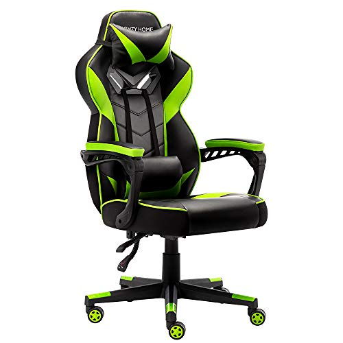 Bonzy Home Gaming Chair Office Chair High Back Computer Chair PU Leather Desk Chair PC Racing Executive Ergonomic Adjustable Swivel Task Chair with Headrest and Lumbar Support (Bright Green) Categories