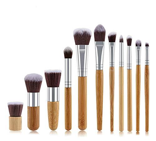 11pcs en Bambou Naturel Poignée de Maquillage Pinceaux de Haute qualité Fondation Blending cosmétiques Make Up Tool Set avec Sac en Coton (Handle Color : WithoutBag)