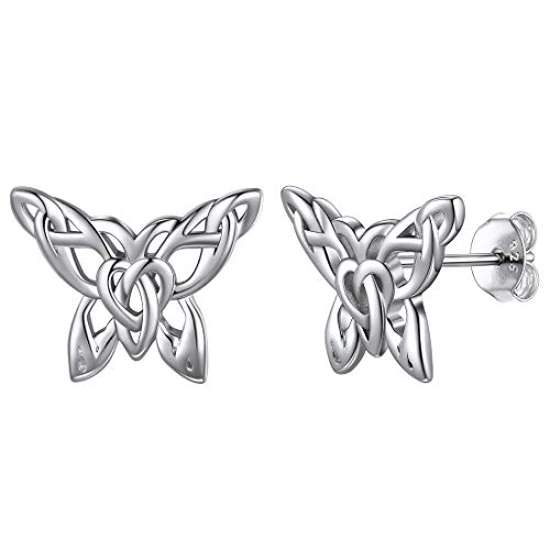 ChicSilver 925 Sterling Silver Butterfly Earrings for Women, Cute Small 3D Butterfly Stud Earrings for Girls Good Luck Celtic Knot Butterfly Jewelry