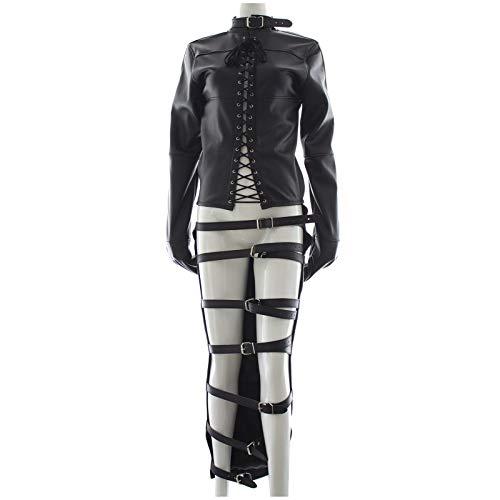 HTABY Damen Body Harness Cosplay PU Kostüm Langes Kleid Sexy Forced Sack Straight Jacke Ganzkörperverband Paar Spielanzug