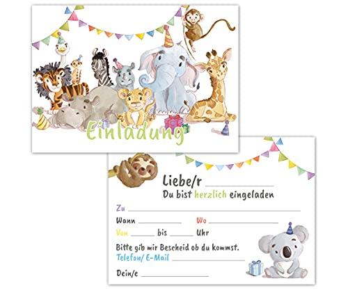 Einladungskarten Kindergeburtstag 12er Set mit Tieren - Geburtstagseinladungen für Mädchen und Jungen bis 10 Jahre – allgemeine Einladung Karte, ideal für die Party zur Einschulung und Geburtstag