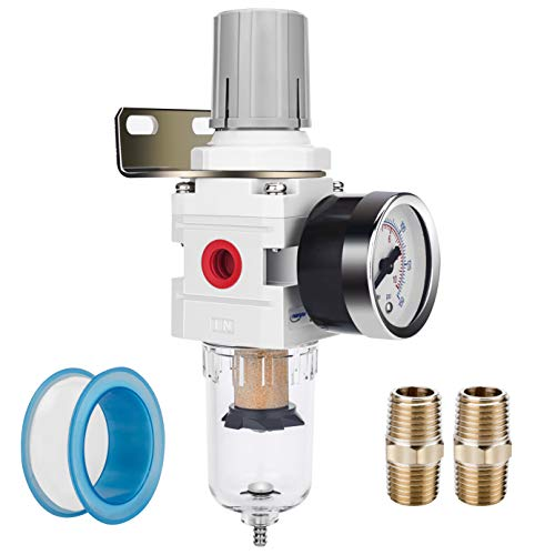 "NANPU 1/4"" NPT Compressed Air Filter Regulator Combo Piggyback, 5 Micron Brass Element, Poly Bowl, Semi-Auto Drain, Metal Bracket, 0-150 psi Gauge"