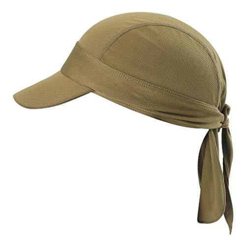 Arcweg Bandana Cap Kopftuch Mit Schirm Atmungsaktiv Pirat Kappe UV Schutz Verstellbar Bikertuch Radsport Mützen Schnelltrockned Sand