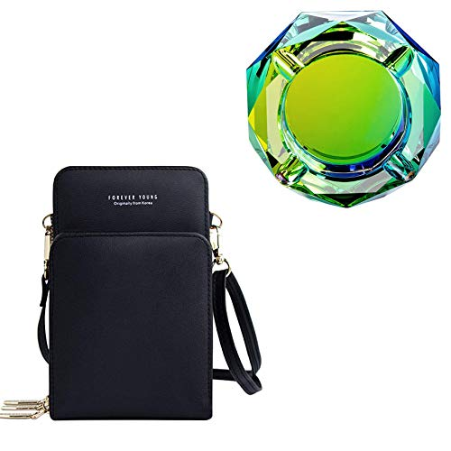 Samdray Womens Lightweight Crossbody Shoulder Bag Mini Crossbody Cell Phone Purse Creative Bling Bling Green Crystal Ashtray Outdoors Indoors Cigarette Ashtray