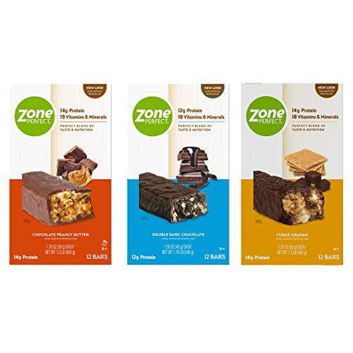 Zone PERFECT Protein Bars, Variety Pack, High Protein, with Vitamins & Minerals, 36 Bars