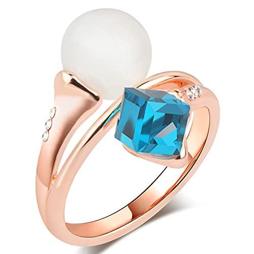 Ezzyso Anillo de Cristal de Perlas, Americana Mujeres Mezcla y combina la Creatividad artística de la joyería de Anillo de aleación (2 Piezas),10