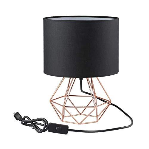 Lámpara de Mesa Metal Mini Vintage Con Interruptor de Cable y Enchufe Lámpara de Noche Luces de Lectura Pantalla de Tela Lámpara de Oficina Para Cuarto Sala Hotel Espacio de Trabajo,Oro