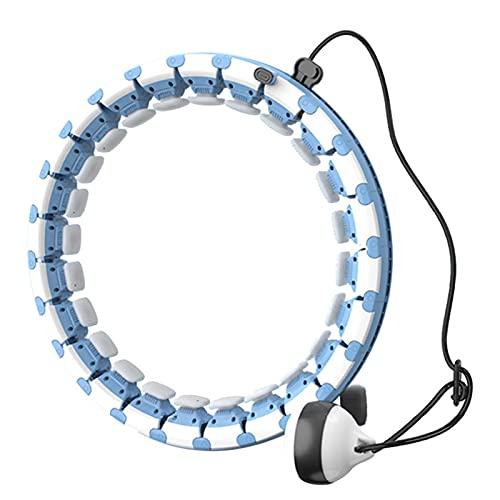 PZV Smart Hula Hoop, 24 Secciones Desmontables y un neumático Inteligente Ancho Ajustable para Mujeres Entrenador de Cintura Deporte Gimnasio Equipo de Ejercicio (Color : Blue)