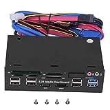 Bindpo Lector de Tarjetas de PC, Panel Frontal del Panel de Control del Host de computadora de 5,25 Pulgadas Lector de Tarjetas de Memoria Interna Supooort USB 3.0, M2, SD, MS, MMC, CF, TF