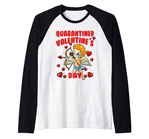 Cupid Wearing Mask - Quarantined 2021 Valentines Day Raglan Baseball Tee
