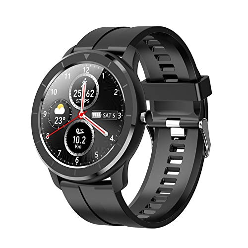 LXF JIAJU Nuevo Reloj Inteligente T6 Medición De Temperatura Bluetooth Llame a La Pantalla Redonda Ph Inch Smart Watch para Android iOS (Color : Gray)