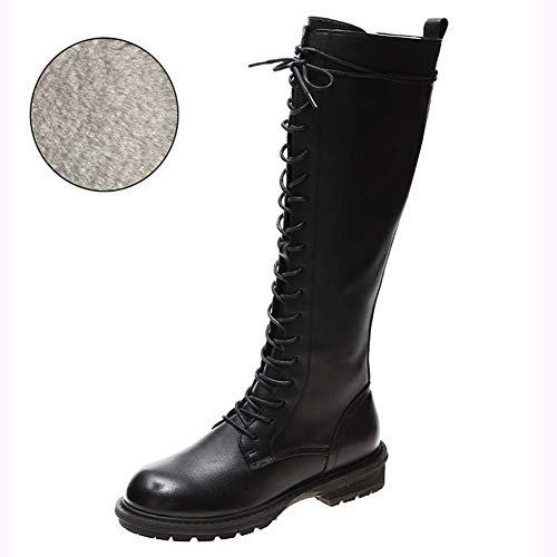 SHOES-YRQ Dames Hoge Laarzen Winter Nieuwe Leer Mode Laarzen Werk Combat Laarzen Ridderlaarzen Combat laarzen 37 B