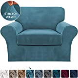 2 Piece Sofa Cover Stretch Luxury Thick Velvet Armchair Slipcover Cover with 1 Separate Seat Cushion Cover | Couch Cover Chair Cover for Living Room, Customized Fitting (Armchair,Peacock Blue)