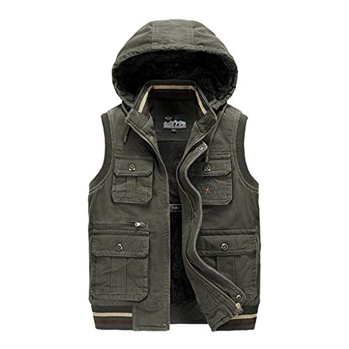 Hcxbb-7 Pocket Vest, Fly Fishing Vest, Herfst en Winter Multi-pocket mannen Casual Plus Velvet Vest Warm Vest Fotografie Directeur Vest