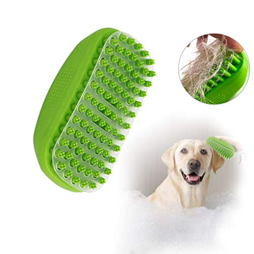 Andiker Pets Bath Massage Brush for Dog Shower with Transparent baffle Easy to Remove Shed Hair Bath Grooming Comb Tool Made of Soft Rubber (Green)