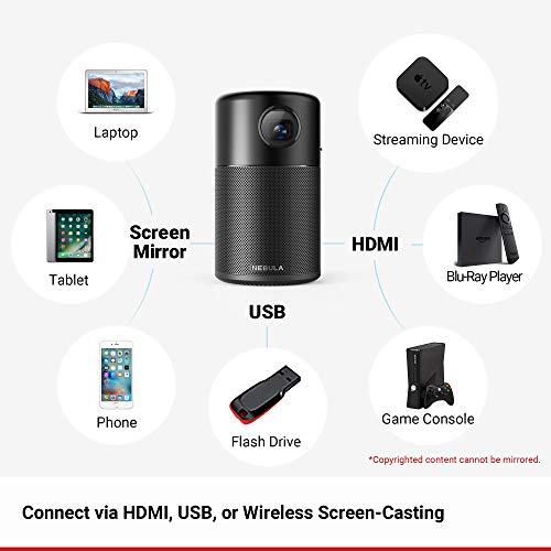 Nebula Capsule, by Anker, Smart Wi-Fi Mini Projector, Black, 100 ANSI Lumen Portable Projector, 360° Speaker, Movie Projector, 100 Inch Picture, 4-Hour Video Playtime, Outdoor Projector—Watch Anywhere