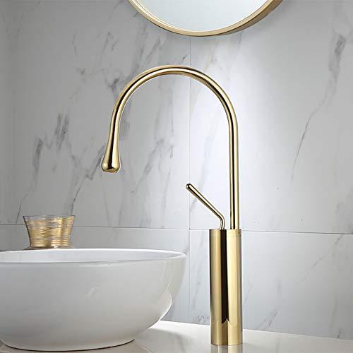 Grifo de lavabo Grifo de lavabo de mármol dorado Grifo de latón Grifo de cocina de una manija Grifo de agua de fregadero giratorio