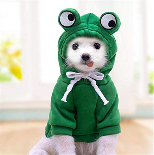 Green Dog Hoodie Coat Clothes Costume Dog Sweater Outfit for Cats Puppy Small Dogs Chihuahua Yorkie Clothes Cold Weather Coat,XS
