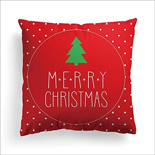 Serie Navideña Elk Muñeco De Nieve Santa Claus Funda De Almohada Decorativa Sin Núcleo De Almohada Engrosamiento Funda De Almohada Lavable Adecuada para Sofá Coche