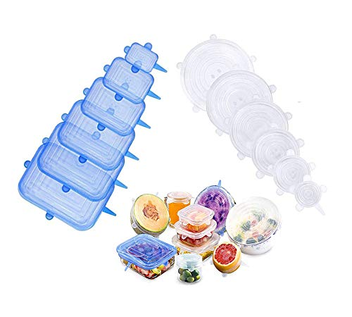 Stretchable sealing lid 12PCS, very suitable for bowls, cups, cans, food storage lids of different sizes and shapes, reusable and easy-to-clean containers dishwasher and freezer silicone elastic lids