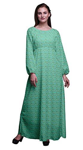 Bimba Georgette Poli Zamioculcas Le Foglie Abito da Donna in Vita Elasticizzato con Maniche Lunghe Stampate da Donna-XSmall