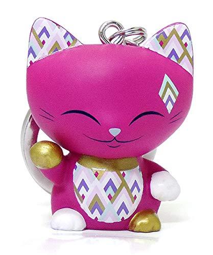 MANI THE LUCKY CAT Porte clé Chat Porte Bonheur Fuchsia Collier doré