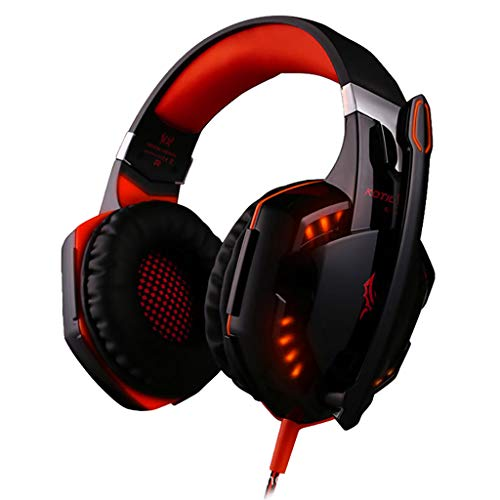 Barcley Stereo Gaming Headset Compatible with PS4, Xbox One(Adapter Not Included), PC with Noise Cancelling Mic - Surround Sound Gaming Headphones - Soft Memory Gaming Headset with LED Light (Red) Headsets