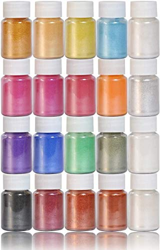 DEWEL 20er×10ml Epoxidharz Farbe, Mica Pulver Resin Metallic Farbe Seifenfarbe Set Pigment für Seife Kunstharz Gießharz Malerei DIY, Jede Farbe ca. 10g