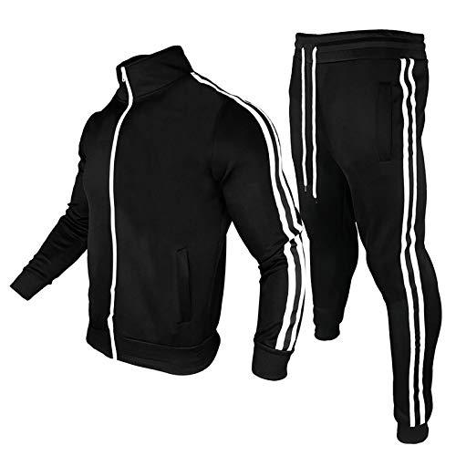 Geagodelia Tuta Uomo Completa 2 Pezzi Completo Sportivo Uomo Fitness Invernale Felpa a Maniche Lunghe con Zip + Pantaloni Jogging Corsa Palestra (Nero, XXL)