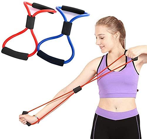 Odowalker Resistance Bands Figure 8 Exercise Band Resistance Fitness Equipment Tool for Back Shoulder Neck Stretching Yoga Bands Bestfik Exercise Loop for Home Workout(Delivery Random Color)