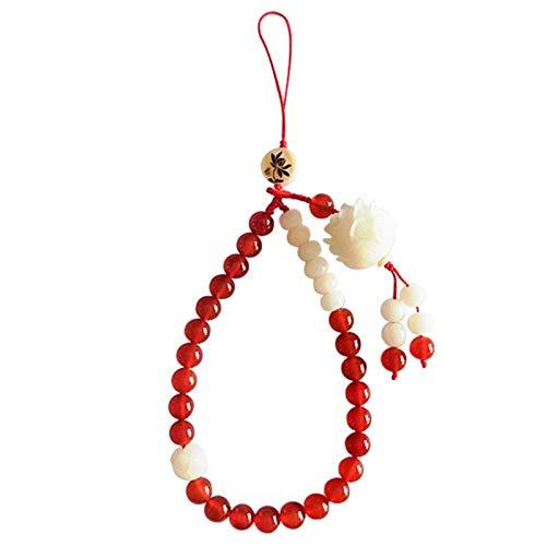 JONJUMP Cadena roja del teléfono móvil del cordón del teléfono móvil del estilo chino de Bodhi Lotus de la ágata