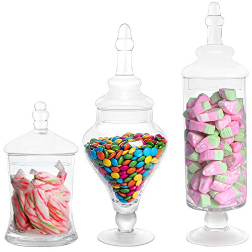BELLE VOUS Bomboneras de Cristal Transparente Apotecario para Chuches (Pack de 3) Botes de Cristal con Tapa Decorativo Victoriano – para Alimentos, Buffets de Dulces en Fiestas, Bodas, Galletas
