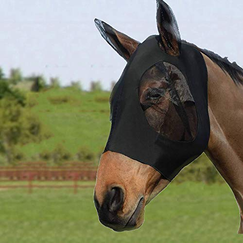Bythavny Pferde Fliegenmaske, Fliegenmasken für Pferde mit Ohren, glatter und elastischer Lycra-Fliegenmaske, Horse Fly Mask Pferde und UV-Schutz (Cob/Arab,Schwarz)