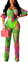Women Elegant Off Shoulder Bandage Crop Top Bikini Cover Ups Sexy See Through Mesh High Waist Straight Long Pants Two Piece Cover Ups with Cheeky Bottom