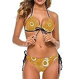 Women's Sexy Tie Neck Top Ribbed Bikini Set Strap Triangle Swimsuit Fabricut Target Cocoa 2XL