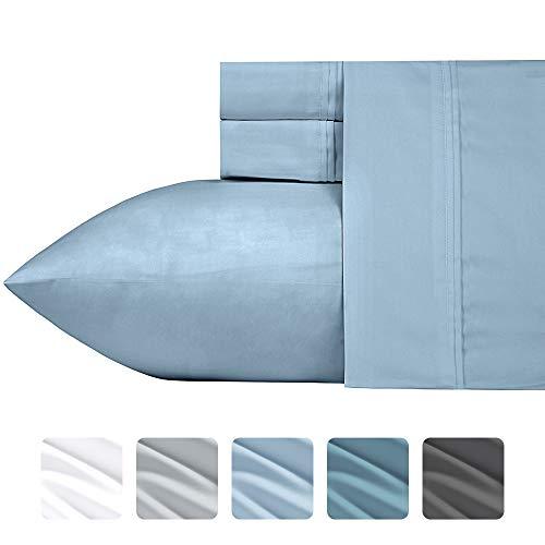 California Design Den 700-Thread-Count 4-Piece King Size All Season Cotton Blend Sheet Set in Morning Blue - Deep Pocket Fits Low Profile Foam and Tall Mattresses, Sateen Weave, Poly-Cotton Sheet Set