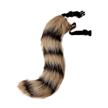 JUNBOON Faux Fur Fox Tail for Unisex Adult Children Cosplay Costume Halloween Party  Black Stripe