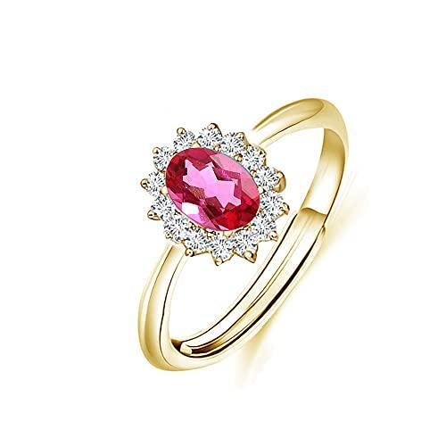 Hedoné - Anillo de mujer con piedra roja rubí ovalada, medida ajustable de princesa, chapado en oro